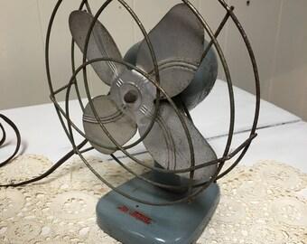 Vintage Electric Fan Mid Century Dominion Blue