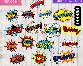 Superhero comic text clip art elements.