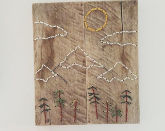 Mountains Art,Hand Embroidery, Wood Wall Art