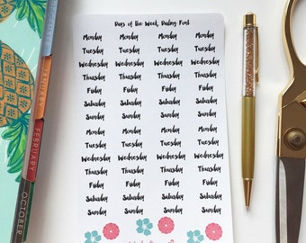 Days of the Week Font Planner Stickers