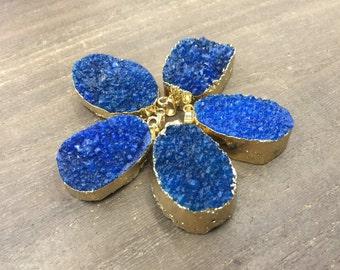 5pcs Wholesale Druzy Pendant Blue Quartz Druzy Geode Pendant Gold Plated Natural Gemstone Pendant Raw Crystal Quartz drusy pendant