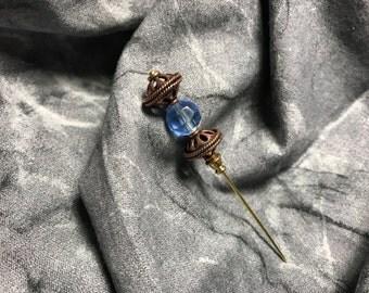Bronze and Blue Stickpin