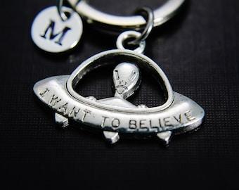UFO Keychain, Alien Keychain, Alien Jewelry, Personalized Jewelry, Christmas Keychain, Christmas Jewelry, Holiday Jewelry, Holiday Keychain