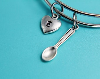 Silver Spoon Charm Bangles Silver Spoon Bangles Silver Bangles Miniature Spoon Charm Heart Charm Bangles Gifts for Her under 30