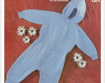 PDF Knitting Pattern-Baby Vintage  BQK All in one hooded outfit- fits 6-12 months