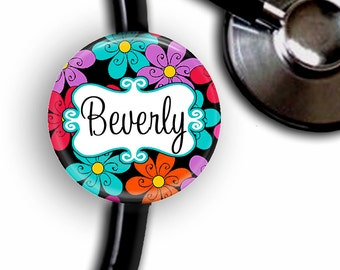 Neon Flowers Personalized Stethoscope ID Tag