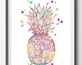 Printable Pineapple, Pineapple digital Print Pineapple instant download Pineapple printable poster Pineapple digital illustration Fruit art