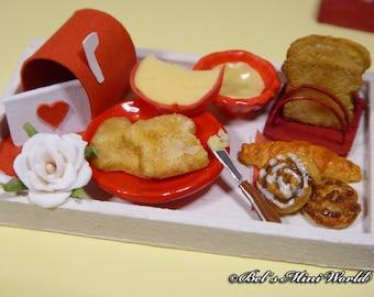 12th Scale handmade miniature love wooden breakfast tray