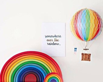 Real Foil Print- Somewhere Over The Rainbow- Wall Art- Home Decor