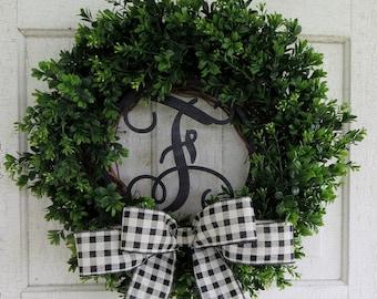 Monogrammed Wreath, Boxwood Wreath, Door Wreath, Summer Wreath, All Season Wreath