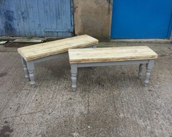 Shabby Chic Farmhouse reclaimed wood dining table bench. Made to Measure painted base. Country kitchen chic grey white Farrow and Ball Chair