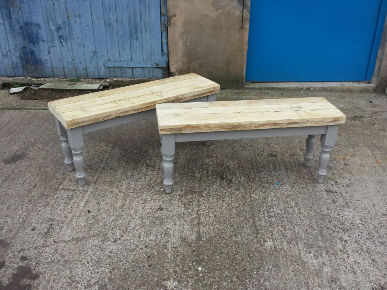 Shabby Chic Farmhouse Reclaimed Wood Dining Table Bench. Made
