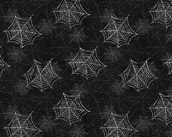 Boooo Ville, Halloween Fabric, Spider Webs on Black Background, by Benartex 2430