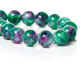 20 Purple and Green Mottled Glass Beads   10mm