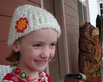 White Knit Hat With Flower
