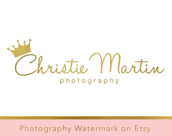 Instant Download Logo - DIY Pre-made Logo Design - Crown Watermark - Photography Watermark - Gold Logo - Photography Logo - Crown Logo 193