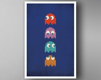 Pacman Inspired. Blinky. Pinky. Inky. Clyde. Video Game Poster. Wall Art.