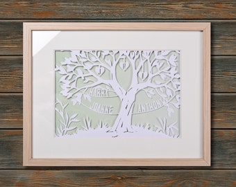 Family Tree - Framed personalised paper cut art (Medium 42x32 cm)