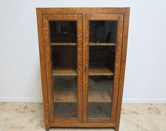 Antique Tiger Oak Curio Crystal Cabinet Book Case