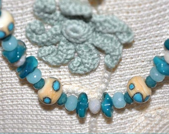 Teal and Tan Lampwork Necklace, Lampwork Beads, Teal Blue Necklace, Glass Bead Necklace, Long Bead Necklace, 30 Inch Necklace, Boho Jewelry