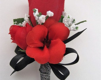 Metallic Black Red Rose Silk Flower Wedding Prom Boutonniere Groom Groomsmen