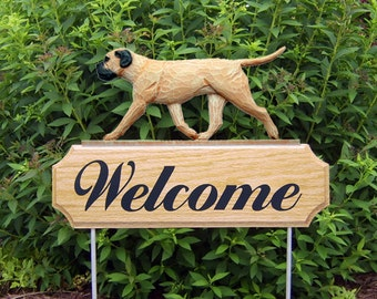 Bullmastiff Welcome Garden Stake