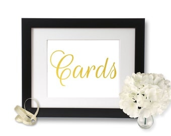 Gold Foil Print, Cards sign, Wedding Signage, Gold Wedding, Gift Table Sign, party decorations