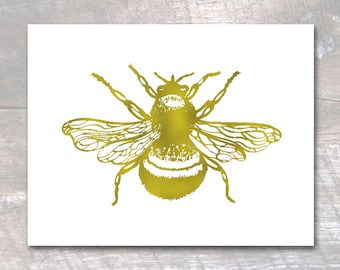 Bee Print, Honey Bee Art, Bumblebee, Gold Foil Print, Bumble Bee Print, bee art print, bee poster
