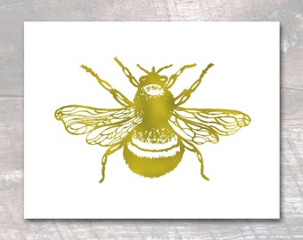 Bee Print, Honey Bee Art, Bumblebee, Gold Foil Print, Metallic Artwork, Bumble Bee Poster