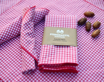 "Upcycled Cloth Napkins - Set of Six (6) - Gingham Perfect Picnic - 17"" Dinner Napkins"