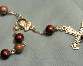 Beige and Browns Metallic Glass Single Decade Rosary