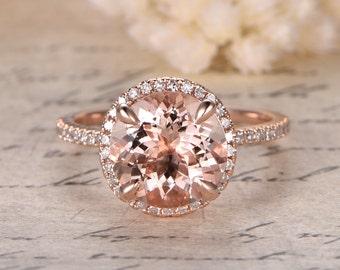 14K Rose Gold Morganite Engagement Ring Diamond Wedding Band Halo Diamond Engagement Ring 9mm Round Morganite Ring Bridal Promise Ring