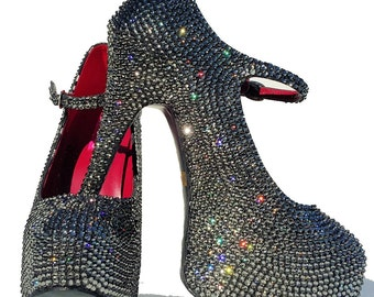 Sparkly High heels shoes-Swarovski Crystal Pumps-Bling Heels-Bling Shoes-Glitter Shoes-Rhinstone Heel Shoes-Evening Shoes-Black Friday