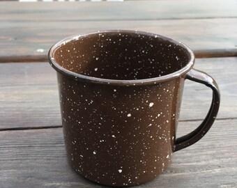Vintage enamelware brown speckled camping mug