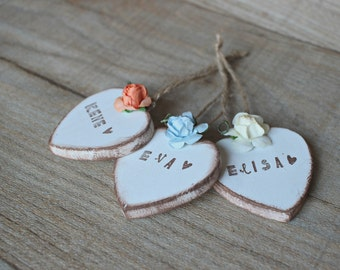 Bulk listing of 25 Personalized Wooden Hearts, Wedding Favors, wood shapes, heart tags, heart favors, hearts, personalized heart, wood heart