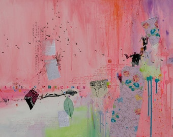 Life is precious, painting, painting abstract, abstract wall art, collage, mixed media, contemporary art
