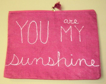 Jute Carry-All, Hot Pink, You Are My Sunshine