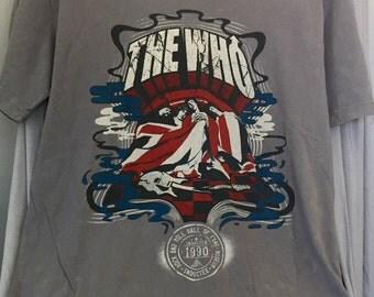 The Who Upcycled t shirt, Retro Band Tshirt, Size L, Perfect cond. 100% cotton, Light Gray, Rock n Roll Tee