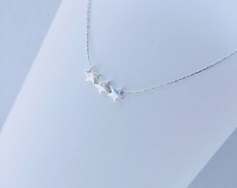 Sterling Silver Trio of Tiny Stars Necklace/Silver Star/Star Bead/Delicate chain/Everyday Wear/Layered/Gift/Bridal/Choker/UK