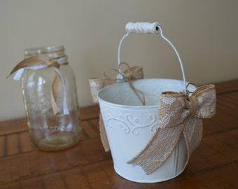 Beach Wedding Flowergirl Basket Flower Girl Bucket Pail Rustic Shabby Chic Burlap Lace Wedding Rustic Barn Wedding