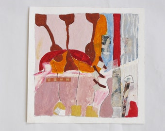 Collage on paper / art - original - painting on paper, abstract art