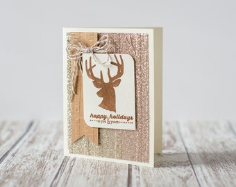 Rustic deer and woodland inspired Christmas card, for anyone in the holiday spirit