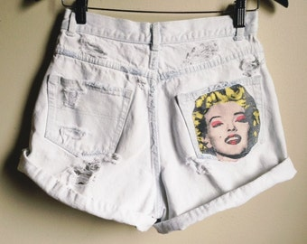 Faded and Distressed High Waisted Marilyn Monroe Denim shorts