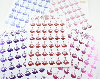 36 Foiled Shiny Coffee Teacup Heart Planner Stickers [#294]