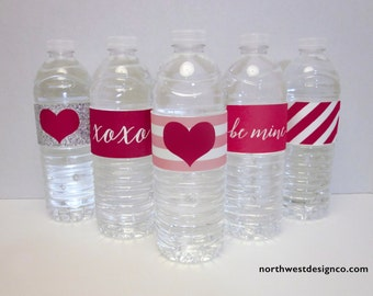 DIGITAL - Valentine's Day Water Bottle Labels Vday Printables Pink Red Silver Digital Files Party Pack Party Decorations Be Mine XOXO Heart