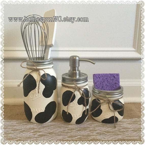 Cow Print Mason Jar Kitchen Decor Set Kitchen Decor By