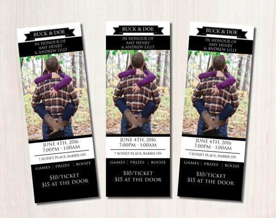Buck and doe tickets printable jack and jill ticket for Stag and doe ticket templates