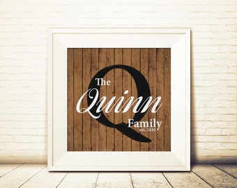 Printable Family Name Art, Painted Wood Effect, Customizable Rustic Art with Family Name and Initial, Family Name, Printable Art