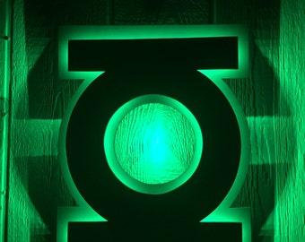 DC Comics Justice League Green Lantern Superhero Logo LED Illuminated Night Light Wall Art