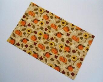 "Fall Pillowcase, Autumn Pillowcase, Travel Pillowcase, Pumpkins Pillowcase, Autumn Pillow Cover, 18""x13"", Fall Pillow Cover, Handmade, New"